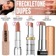 MAC Freckletone Lipstick Dupes - All In The Blush -You can find Mac and more on our website.MAC Freckletone Lipstick Dupes - All In The Blush - Dupes Nyx, Mac Cosmetics Lipstick, Skincare Dupes, Drugstore Makeup Dupes, Beauty Dupes, Mac Makeup, Skin Makeup, Makeup Cosmetics, Beauty Makeup