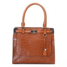 """Crocodile-embossed leather Silver hardware Tubular handles; 8"""" drop Zip close Hanging tag and key on front Zip top Inside, satin lining and pockets"""