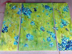 New work- 'blueberries for sal' 36 x 48  www.lizahathawaymatthews.com #commission #art #interior #design