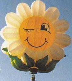 """Hot air balloon in Albuquerque, NM 2014 Balloon Fiesta. Special Shape """"miss Daisy"""""""