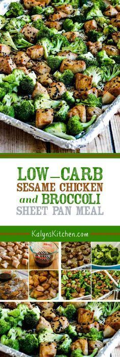 Low-Carb Sesame Chicken and Broccoli Sheet Pan Meal is a quick and easy dinner the whole family will like! And this tasty meal is also Keto low-glycemic gluten-free (with gluten-free soy sauce) dairy-free and South Beach Diet friendly. [found on Kalyn Paleo Recipes, Low Carb Recipes, Cooking Recipes, Meal Recipes, Akins Diet Recipes, Heathly Dinner Recipes, Sauce Recipes, Low Carb Chicken And Broccoli, Gluten Free Soy Sauce