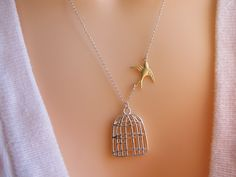 Fly Free Bird Necklace  Divorce gift Silver Birdcage by MonyArt, $25,80