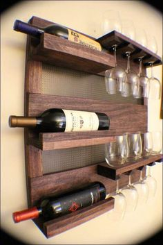 Decoration, Creative Furnitures Wall Mounted Wine Racks From Vintage Wooden Materials Equipped With Wine Glass Holder Can Be Extra Ornaments...: