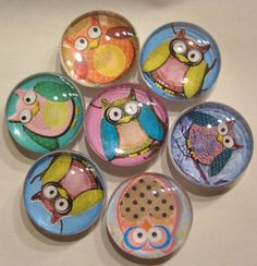 Hey, I found this really awesome Etsy listing at http://www.etsy.com/listing/85615130/owls-glass-fridge-magnet-set-6-1-25mm