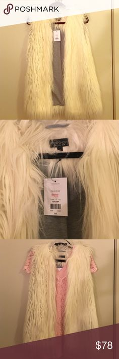 TOPSHOP faux fur vest new with tags US sz 6 TOPSHOP faux fur vest in white cream new with tags US sz 6. Not your average faux fur-- feels very good and not plasticky. Topshop Jackets & Coats Vests