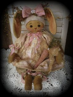 Primitive Olde Folk Art Olde Quilt Bunny Doll With Her Wool Carrot #NaivePrimitive