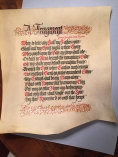 This is a poem by lord Byron I lettered recently on vellum