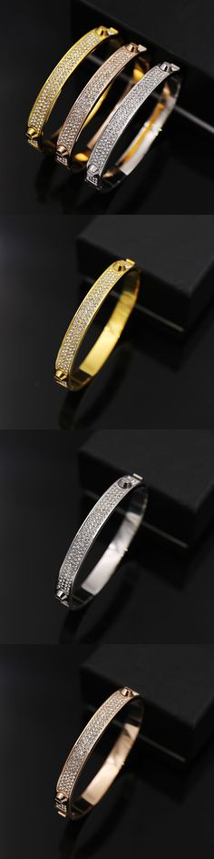 Stainless Steel punk with full zircon gold love bracelet titanium rivet snap three diameter 6CM silver H bracelete fashion
