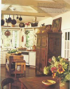 like the antique cupboard integrated into kitchen