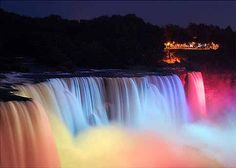 Niagara Falls at night from the Canadian side.