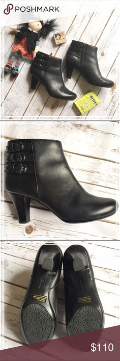 """Clarke Artisan black leather ankle boots booties In excellent condition, these super comfortable leather ankle boots have only been worn twice. The heel measures approx. 3"""" and the shaft is 12"""" around. The three buckles on the side of the shaft give these shoes an elegant vibe, while keeping it a bit grungy. The leather is butter soft, and oh so comfortable! I'm also selling the same shoe in tan. Clarks Shoes Ankle Boots & Booties"""