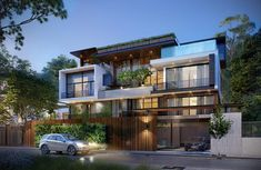 House Outer Design, Minimal House Design, Modern Villa Design, Modern Exterior House Designs, Duplex House Design, Unique House Design, Design Your Dream House, House Front Design, Exterior Design