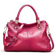 AINIMOER Womens Soft Vintage Genuine Leather Tote Shoulder Bag Tophandle Crossbody Handbags Ladies Messenger PurseRose -- See this great product.
