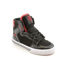 """Supra Vaider Skate Shoe - Youth Black Patent Leather/Nubuck/Red, 1.0 by Supra. $44.99. Material: Man-Made Upper and Rubber Outsole. Measurements: 1"""" heel. This shoes / sandals / boots style name or model number is Vaider. Color: BLR. Width: M. synthetic-and-rubber. Today the playground, tomorrow the worldAAAthe Supra Vaider Youth Skate Shoe was designed for those big dreamers with small feet. High-top construction meets a low-pro vulc outsole, and the Vaider's over..."""