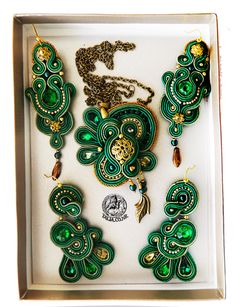 Soutache set in Green with two pairs of earrings