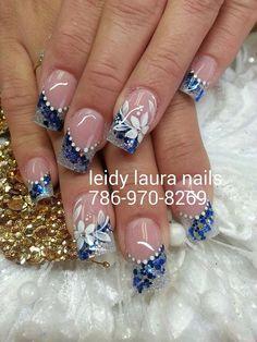 Blue design Fancy Nails Designs, New Nail Designs, French Nail Designs, Nail Tips, Nail Ideas, Bridal Nails, Glitter Nail Art, Flower Nails, Nail Nail