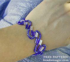 Free pattern for beaded bracelet Lanawith bugles U need: seed beads 11/0 bugles