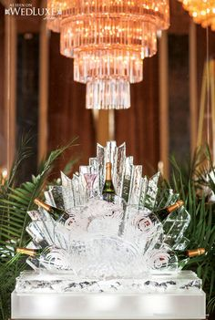 WedLuxe: Gatsby Girl - Inspired by Cinema - Ice sculpture + champagne