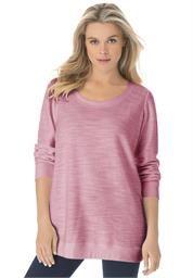 Plus Size Textured Sweatshirt Tee