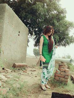 Simple n Beautiful Green n white Patiala suit