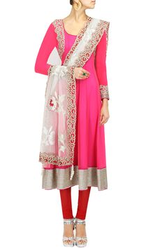 Pink and red baroque embroidered anarkali
