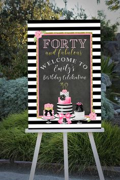 Forty And Fabulous 40th Birthday Black White Stripe Decorations Bday Ideas