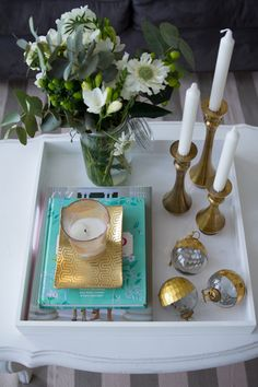 @Julia Engel's Holiday Home, featuring our Plated Glass Ornament and Amana Candlesticks.
