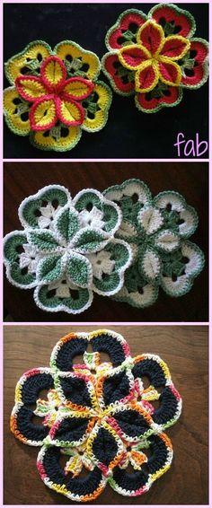 Crochet Starburst Flower Hotpad Free Pattern-Video
