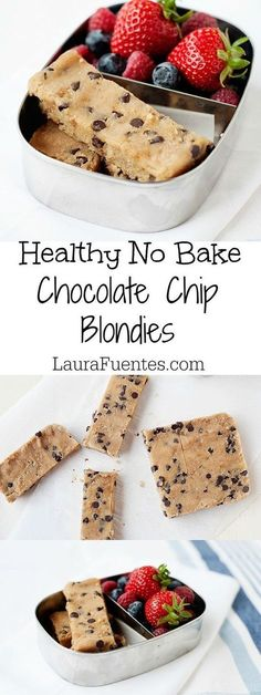 Healthy No Bake Chocolate Chip Blondies are going to change how you eat snacks! - Healthy No Bake Chocolate Chip Blondies are going to change how you eat snacks! Healthy No Bake Chocolate Chip Blondies are going to change how you eat snacks! Healthy Sweets, Healthy Baking, Kids Healthy Snacks, Healthy Meals, Healthy Drinks, Vegan Meals, Health Sweet Snacks, Good Healthy Snacks, Healthy Things To Eat
