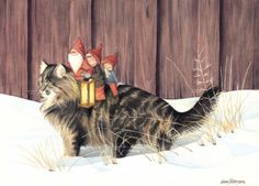 Cats and gnomes go together.