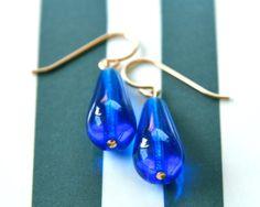 cobalt blue drop earrings glass. gold filled wire by KellyJohnston, $26.00