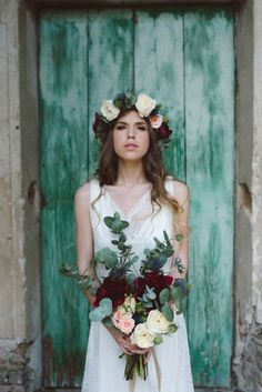 rose flower crown in marsala, blush and white with green leaves for a moody…