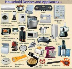 Household Devices and Appliances Vocabulary in English - ESLBuzz Learning English English Vocabulary Words, Learn English Words, Grammar And Vocabulary, English Grammar, English Prepositions, English Tips, English Study, English Class, English Lessons