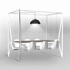WOW swing chairs around table! Coolest dinner table EVER! Would be awesome for screened in porch