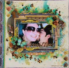 Scraps of Darkness scrapbook kits: mixed media love/couples layout video tutorial: Amy Prior created this wonderful layout with our Tanya's Industrial Odyssey kit, and she did a Youtube tutorial to show her process. Find our kits here: www.scrapsofdarkness.com