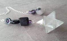 Click now to purchase! Merkaba Pendulum Rainbow Obsidian Tourmaline Amethyst Quartz Pendulum Sterling Silver Black White Stone Divining Dowsing Heal Spiritual Tool $45