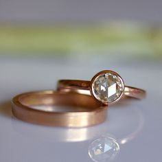 6mm Rose Cut Moissanite Engagement Ring In 14K Gold - Made To Order. $550.00, via Etsy.