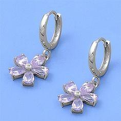 Haliey's Flower Dangle Lavender Cubic Zirconia Silver Hoop Earrings #CubicZirconia