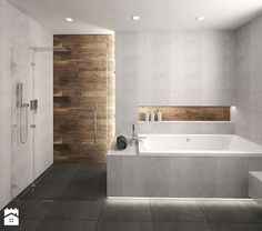 Jose: Maybe its nice to have the same tile inside as we have outside? Wc Bathroom, Wooden Bathroom, Family Bathroom, Bathroom Design Small, Modern Kitchen Design, Small Master Bath, Bath Tiles, Bath Remodel, Bathroom Renovations