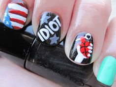 GD american idiot nails Emo Nail Art, Music Nail Art, Music Nails, Nail Polish Art, Band Nails, My Nails, Green Day Billie Joe, American Idiot, Nail Treatment