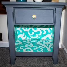 Easy DIY Mod Podge and Wrapping Paper Furniture Update.