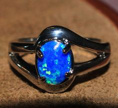 blue fire opal ring Gemstone silver jewelry Sz 6 exquisite modern design MD41E