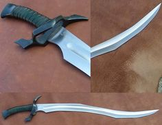 Authenticated and exacting replicas of swords and armor made famous in film, television, literature and fantasy art. Fantasy Sword, Fantasy Weapons, Swords And Daggers, Knives And Swords, Sword Hilt, Sword Design, Arm Armor, Weapon Concept Art, Tactical Knives