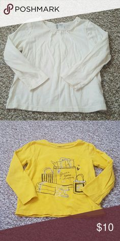 Two adorable 4t girls GAP long sleeve tees Perfect play day shirts! Good condition. Non smoking home. Please shop the rest of my closet.  I have lots of amazing treasures. Thanks for Poshing! GAP Shirts & Tops Tees - Long Sleeve