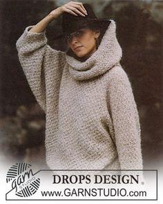 """Pull DROPS au point de riz et point de blé, avec grand col amovible, en """"Ardesia"""". Taille M. Modèle gratuit de DROPS Design."""