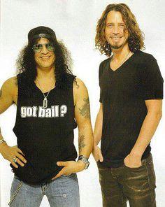 Slash (The London, The Guns N' Roses, The Velvet Revolver), and Chris Cornell [R.P] (The Soundgarden). Music Love, Music Is Life, My Music, Rock Music, Scott Weiland, Eddie Vedder, Pearl Jam, Kurt Cobain, Nirvana