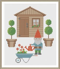 Gnomes Garden Cross Stitch Pattern PDF Chart - Would be cute placed near your gardening tools.