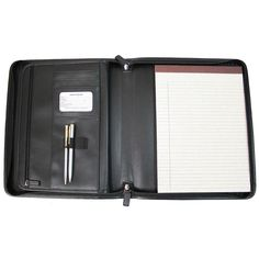 Ziparound Tablet Writing Portfolio Organizer in Genuine Leather, Black
