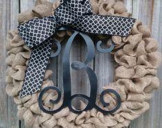 Monogram Burlap Wreath Burlap Wreath Monogram by TwinAngelsWreaths