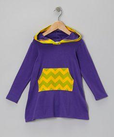 Take a look at this Eggplant Zigzag Jasmyn Hooded Dress - Toddler & Girls by Sweet Jewelea on #zulily today!